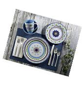 Dinnerware Set For 4 Turquoise Blue 16 Piece Kitchen Dishes Plates Stoneware New