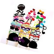 58pcs DIY Party Masks Photo Booth Props Mustache On A Stick