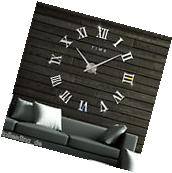 Luxury DIY Wall Clock 3D Roman Numerals Stickers Home Art