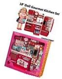 "69pc 18"" Doll-House RED KITCHEN +Refrigerator Set 4 American"