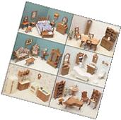 Dollhouse Furniture Lot Doll House Kit Wood Set Miniature