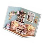 Dollhouse Miniature DIY Wood Kit Dolls House Room with Cover
