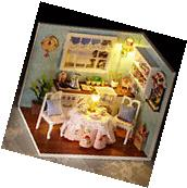 Dollhouse Miniature Kit with Cover and LED Wood Toy Dolls