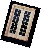 Door -Double French - wooden dollhouse miniature  6011 1/12