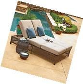 Double Chaise Lounger with Geobella Fabric Yard Garden