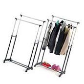 Double Rod Garment Rack Rolling Adjustable Bar Rail Rack