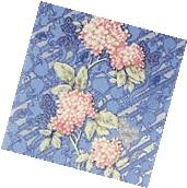 Wallpaper double roll wallcovering floral blue textured