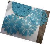 """dozen Hand Crochet Doilies 6""""  Blue Vintage Lace Party Craft"""