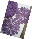 "dozen Hand Crochet Doilies 6""  Purple Vintage Lace Party"