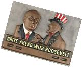 DRIVE AHEAD WITH ROOSEVELT UNCLE SAM Cast Iron POLITICAL