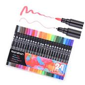 Dual Brush Pen Colored Art Markers 24 Colors - With