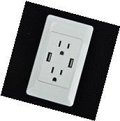 1 PK Dual Plug Wall Plate Socket Adapter With Dual USB Port