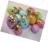 Easter Gold Glitter Pastel Eggs Ornaments Tree Decorations