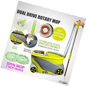 360° Easy Clean Floor Mop+ Wheels Bucket 2 Heads Microfiber