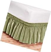 Elastic Bed Skirt Dust Ruffle Easy Fit Wrap Around Turquoise