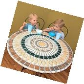Elasticized Mosaic Round Table Cover 48 in Tuscan Patio