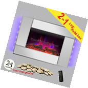 """36"""" Electric Fireplace Touch Screen Mirror Pebble 2 Setting"""