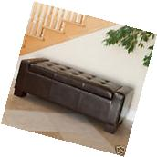 Elegant Contemporary Design Brown Leather Storage Ottoman