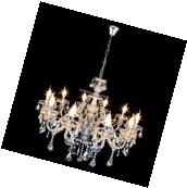 Elegant Crystal Chandelier Modern Ceiling Light 10 Lamp