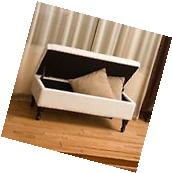 Elegant Linen Fabric Storage Ottoman w/ Plush Tufted Top