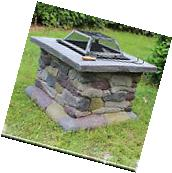 Elegant Outdoor Patio Fire Pit w/ Iron Fire Bowl, Stone Base