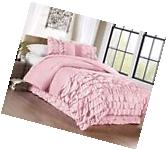 Chezmoi Collection 3-Piece Ella Waterfall Ruffle Comforter