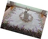 """Embroidered LAVENDER & LACE 33"""" Cutwork Table Topper"""