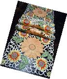 "Embroidered Table Runner Cut Work Lace Sunflower 72"" by 16"""