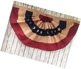 Embroidered Tea Stained American Flag Fan Bunting ~ 4 ft