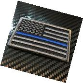 EMBROIDERED US FLAG THIN BLUE LINE UNITED STATES MORALE