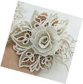 1 Meter Embroidery Fabric 110mm White Lace Flower Trims