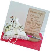 Engraved Sign for Wooden Wedding Heart Drop Box Guest  Book