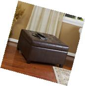 Espresso Brown Leather Storage Ottoman Coffee Table w/