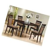 7pc Espresso Dining Room Kitchen Set Table 6 Brown Leather