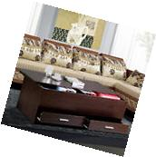 Espresso Finish Wood Trunk Coffee End Table with Sliding Top