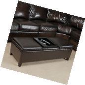 Espresso Leather Storage Ottoman Bench w/ Center Coffe Table