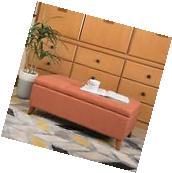 Etoney Contemporary Fabric Storage Ottoman, Orange