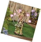 FAIRY WITH SOLAR PANEL LED LIGHT PEONY FLOWER STATUE GARDEN
