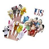 10Pcs Family Finger Puppets Doll Baby Plush Cartoon Animal