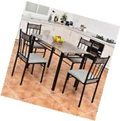 5 Piece Faux Marble Dining Set Table and 4 Chairs Kitchen