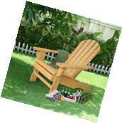 New Outdoor Natural  Fir Wood Adirondack Chair Patio Lawn