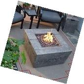 Outdoor Fire Pit Square Natural Gas Fire Table Glacier Stone