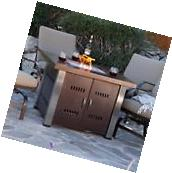 Outdoor Fire Pit Table Heater Propane Antique Bronze