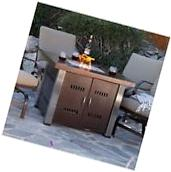New Outdoor Fire Pit Table Propane Gas Patio Tabletop Steel