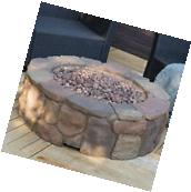 """Large 36"""" Outdoor Fireplace Stone Fire Pit Propane Gas"""