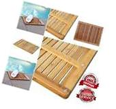 Floor Shower Mat Wood Bath 100% Natural Bamboo Carpet
