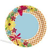 FLORAL Garden Check LARGE PAPER PLATES  ~ Birthday Party