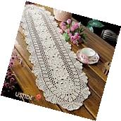 Ustide Floral Hand Crochet Table Runner Doily Beige Lace