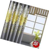 Bathroom Shower Curtain Floral Yellow Gray Flowers