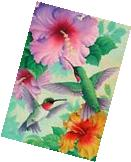 "FM196 2 HUMMINGBIRDS FLOWERS BY CUSTOM DECOR SUMMER 12""x18"""
